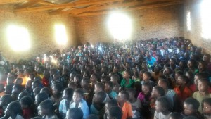 Only the children in 6th grade and under could fit into the meeting hall for the message and singing.